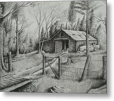Ma's Barn And Truck Metal Print by Chris Shepherd