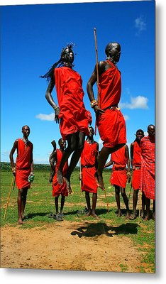 Masai Warrior Dancing Traditional Dance Metal Print