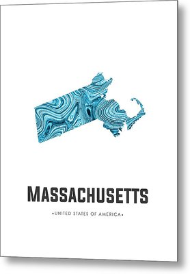 Massachusetts Map Art Abstract In Blue Metal Print