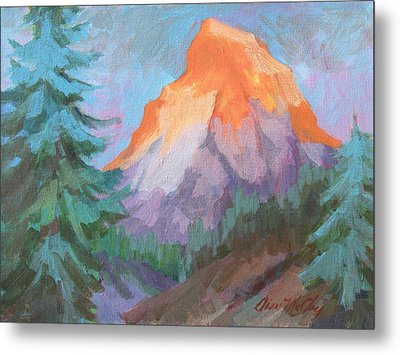 Metal Print featuring the painting Matterhorn Sunrise by Diane McClary