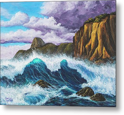 Metal Print featuring the painting Maui Rugged Coast  by Darice Machel McGuire