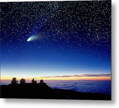 Mauna Kea Telescopes Metal Print by D Nunuk and Photo Researchers