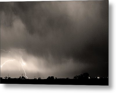 May Showers 3 In Sepia - Lightning Thunderstorm 5-10-2011 Boulde Metal Print by James BO  Insogna