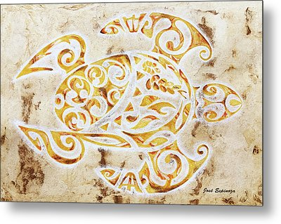 Metal Print featuring the painting Mayan Turtle by J- J- Espinoza