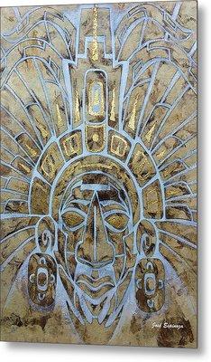 Metal Print featuring the painting Mayan Warrior by J- J- Espinoza