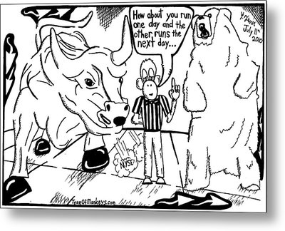 Maze Cartoon Of Bulls And Bears At Nyse Yonatan Frimer Metal Print by Yonatan Frimer Maze Artist