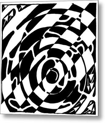 Maze Of The Number Six Metal Print by Yonatan Frimer Maze Artist