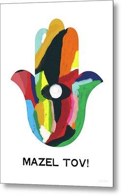 Mazel Tov Hamsa- Art By Linda Woods Metal Print by Linda Woods
