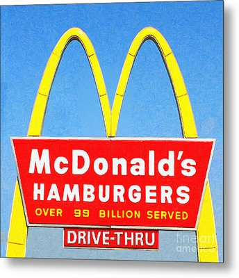 Mcdonalds Hamburgers . Over 99 Billion Served Metal Print by Wingsdomain Art and Photography