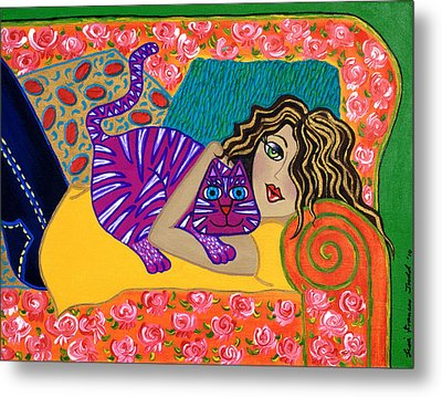 Me And My Cat Metal Print by Lisa Frances Judd