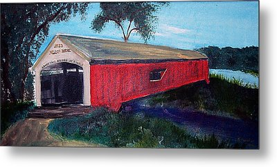 Mecca Covered Bridge Metal Print by Andrea Harston