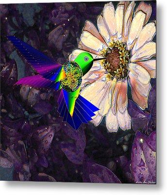 Metal Print featuring the digital art Mecha Whirlygig by Iowan Stone-Flowers