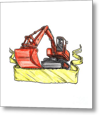 Mechanical Digger Excavator Ribbon Tattoo Metal Print by Aloysius Patrimonio