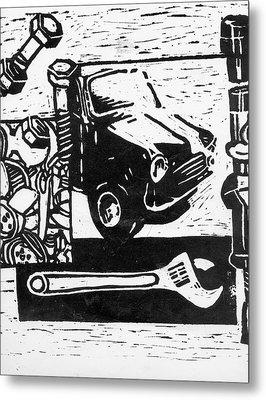 Mechanical Linoprint Metal Print by Tom  Layland