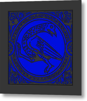 Mediaeval Bird Revision - Blue Metal Print by Li   van Saathoff