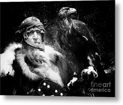 Medieval Fair Barbarian And Golden Eagle Metal Print by Bob Christopher