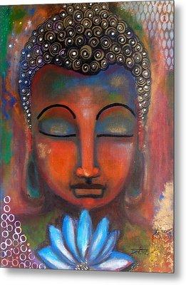 Meditating Buddha With A Blue Lotus Metal Print by Prerna Poojara