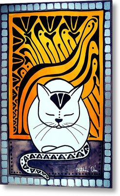 Metal Print featuring the painting Meditation - Cat Art By Dora Hathazi Mendes by Dora Hathazi Mendes