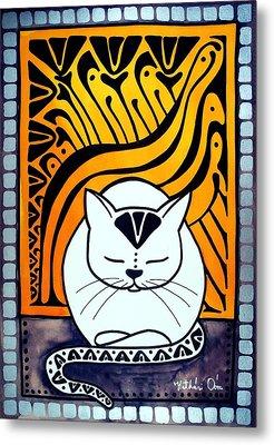 Meditation - Cat Art By Dora Hathazi Mendes Metal Print by Dora Hathazi Mendes