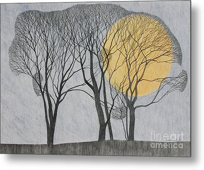 Megamoon Metal Print by Ann Brain