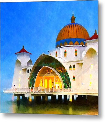 Melaka Straits Mosque Metal Print