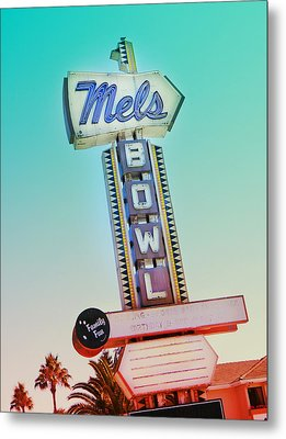 Mels Bowl Retro Sign Metal Print by Kathleen Grace