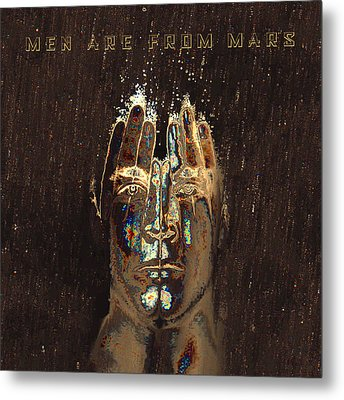 Men Are From Mars Gold Metal Print by ISAW Gallery