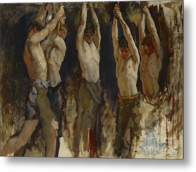Men At An Anvil, Study For The Spirit Of Vulcan Metal Print by Edwin Austin Abbey