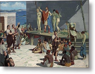 Men Bid On Women At A Slave Market Metal Print by H.M. Herget