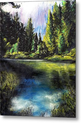 Merced River Bank Metal Print