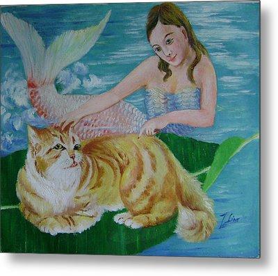 Mermaid And Cat Metal Print by Lian Zhen