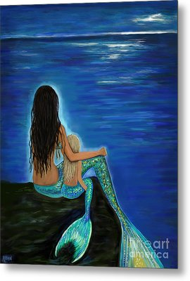 Metal Print featuring the painting Mermaid And Her Daughter by Leslie Allen