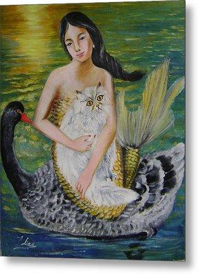 Mermaid And Swan Metal Print by Lian Zhen
