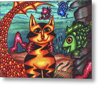 Mermaid Cat Fish Sealife Art Metal Print