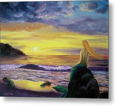 Mermaid Sunset Metal Print by Laura Iverson