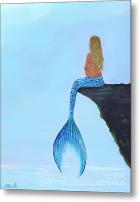 Metal Print featuring the painting Mermaids Bundle To Be by Leslie Allen