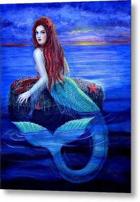 Mermaid's Dinner Metal Print by Sue Halstenberg