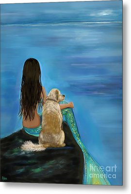 Metal Print featuring the painting Mermaids Loyal Buddy by Leslie Allen