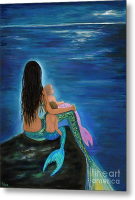 Metal Print featuring the painting Mermaids Sweet Little Ones by Leslie Allen