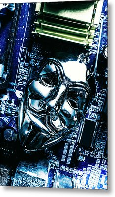 Metal Anonymous Mask On Motherboard Metal Print by Jorgo Photography - Wall Art Gallery