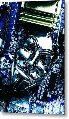 Metal Anonymous Mask On Motherboard Metal Print