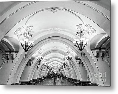 Metal Print featuring the photograph Metro Arbatskaya by Delphimages Photo Creations