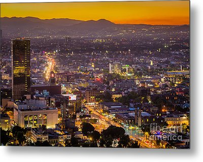 Mexico City Sunset Metal Print by Inge Johnsson