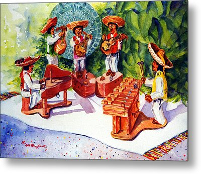 Mexico Mariachis Metal Print by Estela Robles