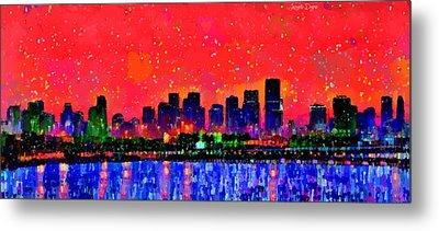 Miami Skyline 10 - Da Metal Print by Leonardo Digenio