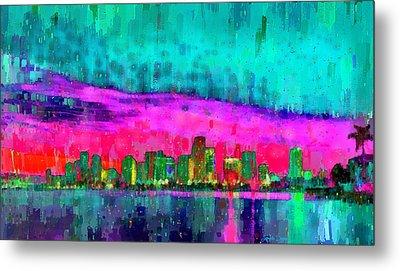 Miami Skyline 103 - Da Metal Print by Leonardo Digenio