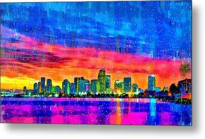 Miami Skyline 140 - Pa Metal Print by Leonardo Digenio