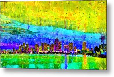 Miami Skyline 142 - Da Metal Print by Leonardo Digenio