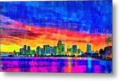 Miami Skyline 149 - Pa Metal Print by Leonardo Digenio