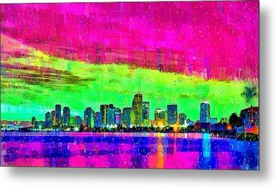 Miami Skyline 151 - Da Metal Print by Leonardo Digenio